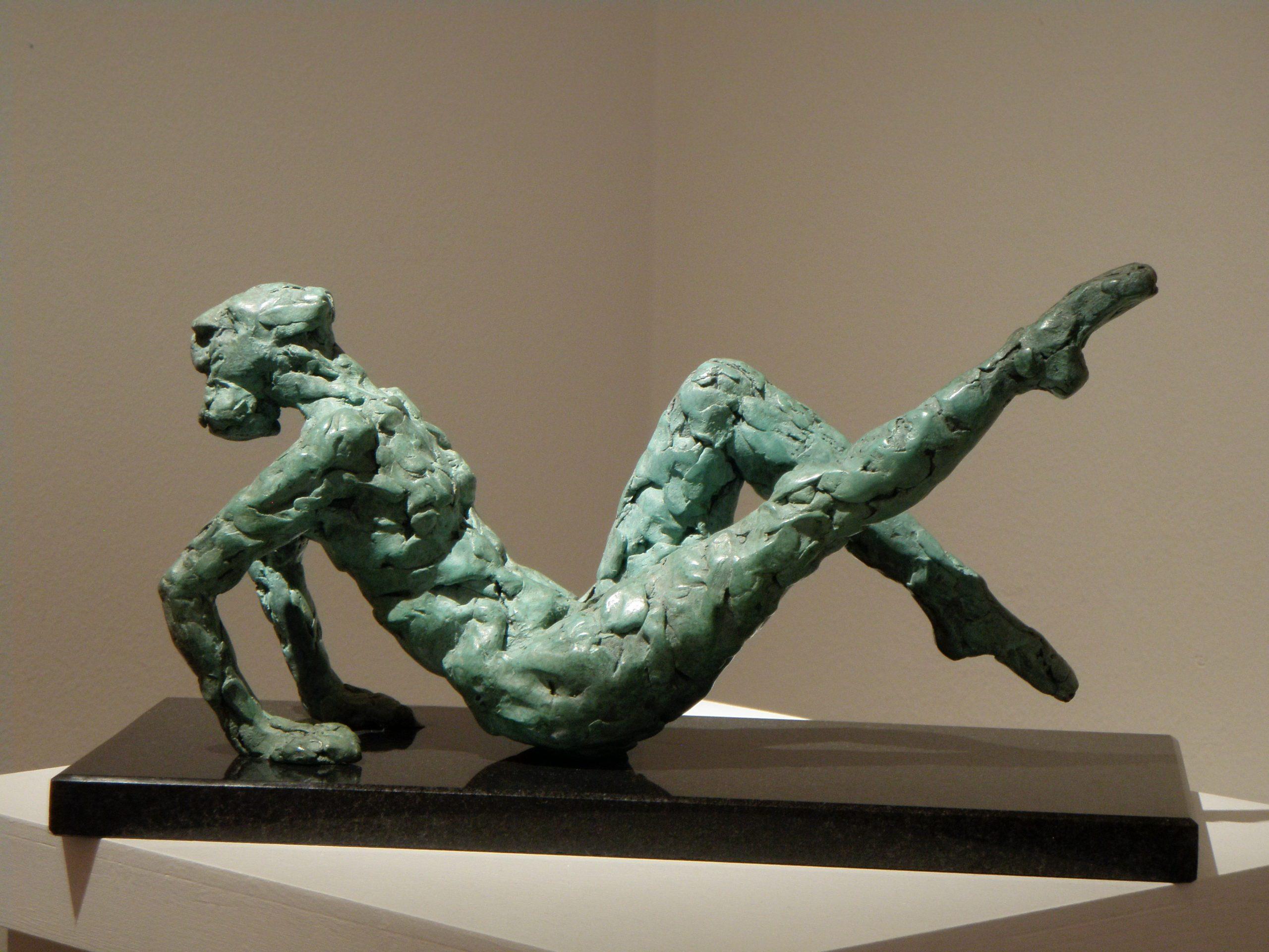 Photo of the bronze dancer in verdigris by sculptor Hazel Reeves