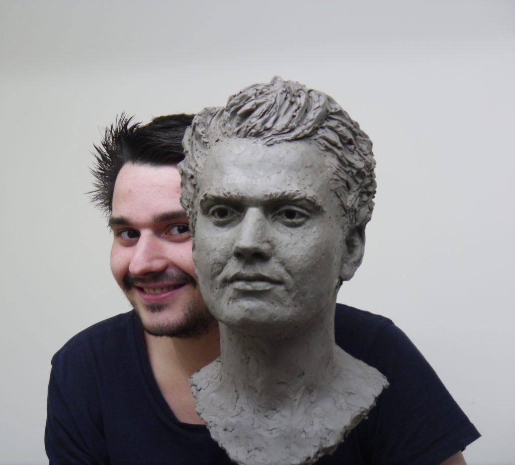 Patrick Reeves-Dienes with his portrait by Hazel Reeves