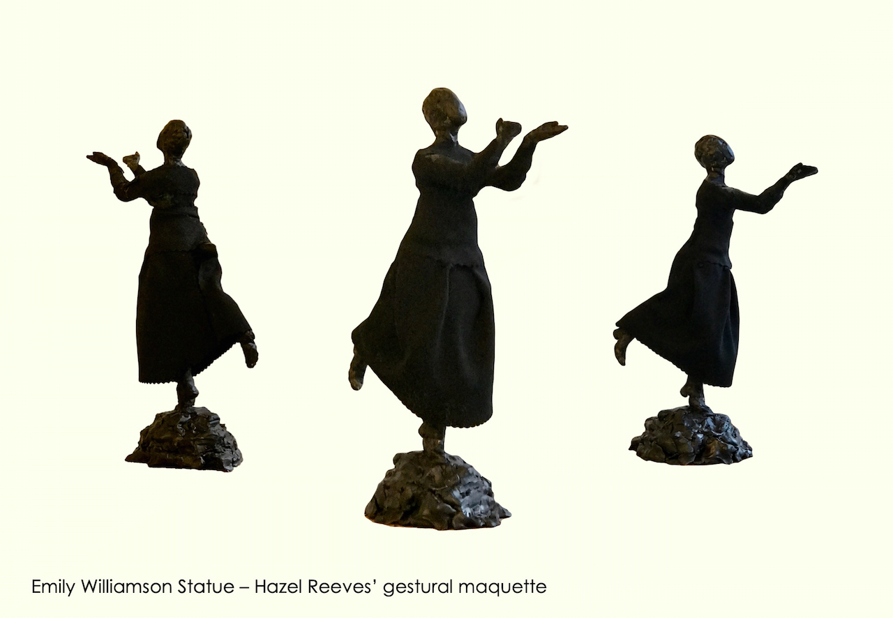 Three views of Hazel Reeves' design for the Emily Williamson statue - she is releasing a wild bird up into the are, both arms uplifted, balancing on one tip toe on a rock