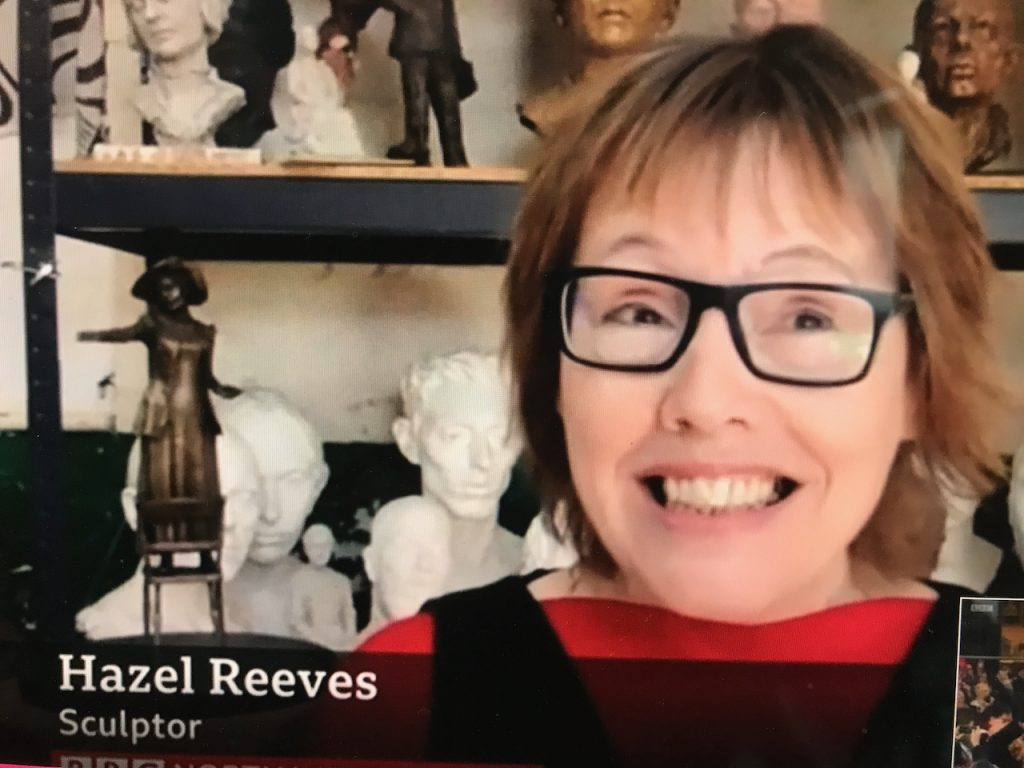 Image of Hazel Reeves in her studio, on BBC NW