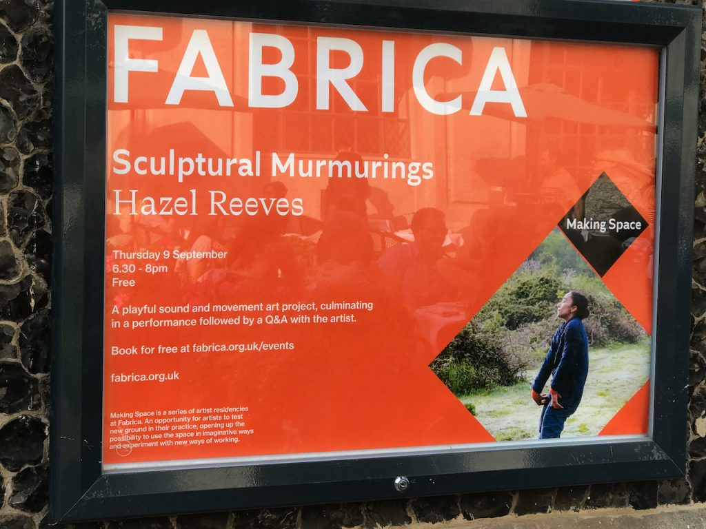 Image of the poster outside Fabrica Gallery for Hazel Reeves' Fabrica Residency: Sculptural Murmurings